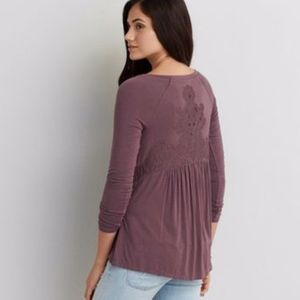 AE Soft & Sexy Purple Lace Long Sleeve Blouse